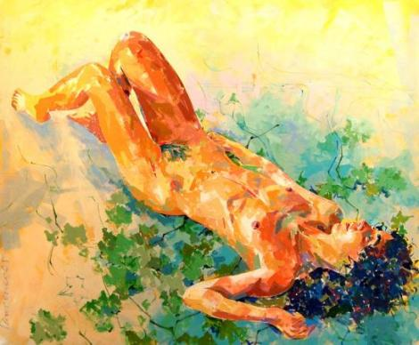 "Lawrence Buttigieg, ""Nude with vine"", 2007, 120 x 100cm, oil on canvas, private collection"