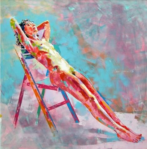 "Lawrence Buttigieg, ""Nude XIX"", Painting Oil, 2003,120 x 120 cm"